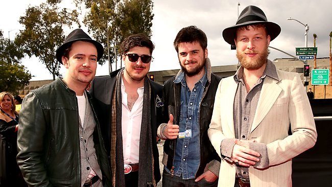 Ben Lovett, Marcus Mumford, 'Country' Winston Marshall and Ted Dwane of Mumford & Sons arrive at the 55th Annual GRAMMY Awards on February 10, 2013 in Los Angeles, California. (Photo by Christopher Polk/Getty Images)