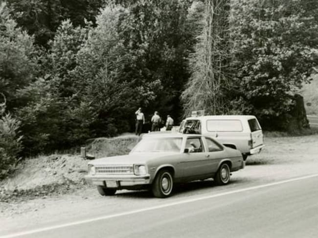Crime scene: Detectives search for clues around the shallow grave off Highway 20 where Francine and Kerry's remains were found in 1979.