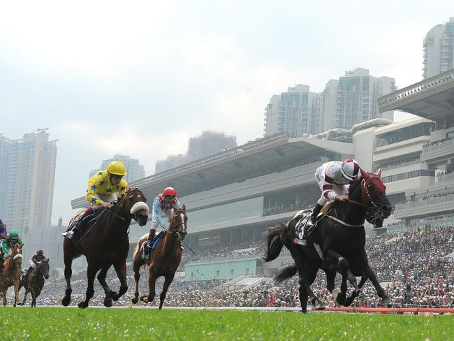 Zac Purton delivers aboard Dominant (right) in the Hong Kong Vase in 2013. Picture: Getty Images