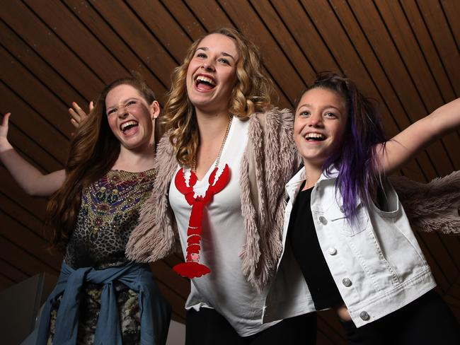 Having a ball ... Grace, Imogen (a finalist) and Eve of The Voice Kids at Channel Nine in Docklands, Melbourne.