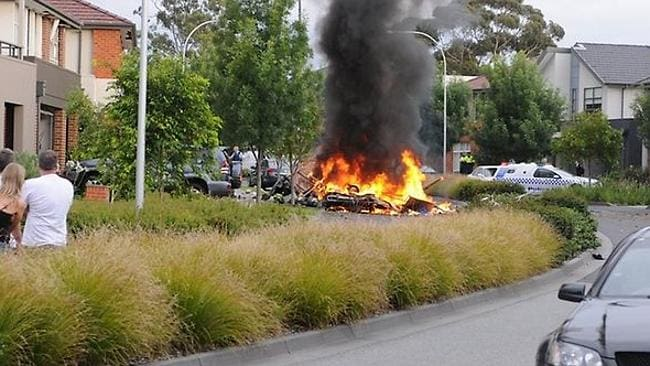 Joe Cosentino's work van engulfed in flames in Mulgrave after a gas explosion which killed the young tradesman. Picture: Vincent Choong. Source: Supplied