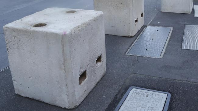 Concrete bollards like these will be installed in Sydney's Martin Place and other key location to stop London Bridge style terror attacks. Hamish Blair