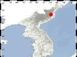This is a capture from the United States Geological Survey website, which shows the position of Punggye-ri (red mark), a North Korean nuclear test site in Kilju, North Hamkyong Province. The South Korean weather agency said that it detected a magnitude 5.7 earthquake at 12:36 p.m. on Sept. 3, 2017. (AAP Image/Yonhap News Agency) NO ARCHIVING, AUSTRALIA ONLY