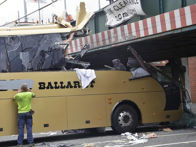 A bus smashes into the Montague Street Bridge in February. Picture: Hamish Blair