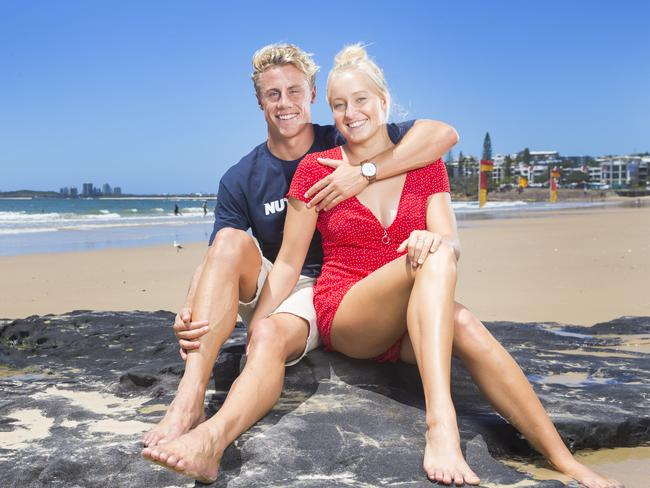 Ironman Matt Bevilacqua with his Ironwoman girlfriend Brielle Cooper who became the first couple to take out the Nutri-Grain series in February. Picture: Lachie Millard