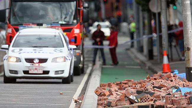 Police cordoned off the scene in Swanston St. Picture: Hamish Blair