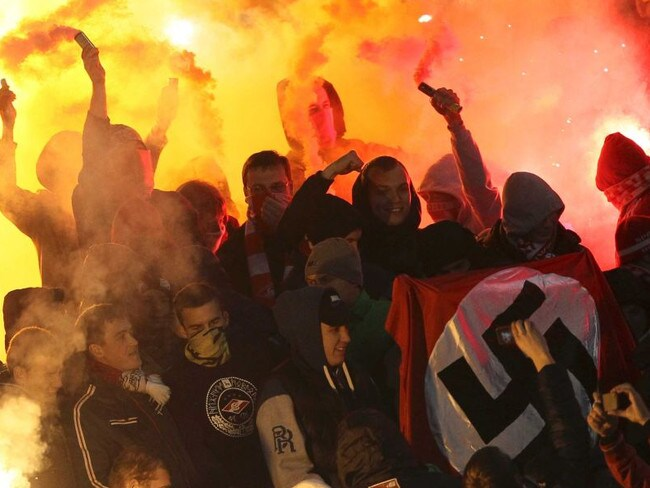 Neo-Nazi Russian football hooligans.