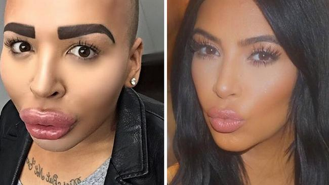 Unfortunately for Jordan James Parke, left, the likeness isn't as great as he'd hoped. the 23-year-old from the UK spent over $150,000 on surgery to look like his beloved Kimmy K, right. He knows it went wrong, as he'd appeared on TV show 'Botched' to talk about what went wrong. Picture: _iamjordanjames/Instagram; kimkardashian/Instagram