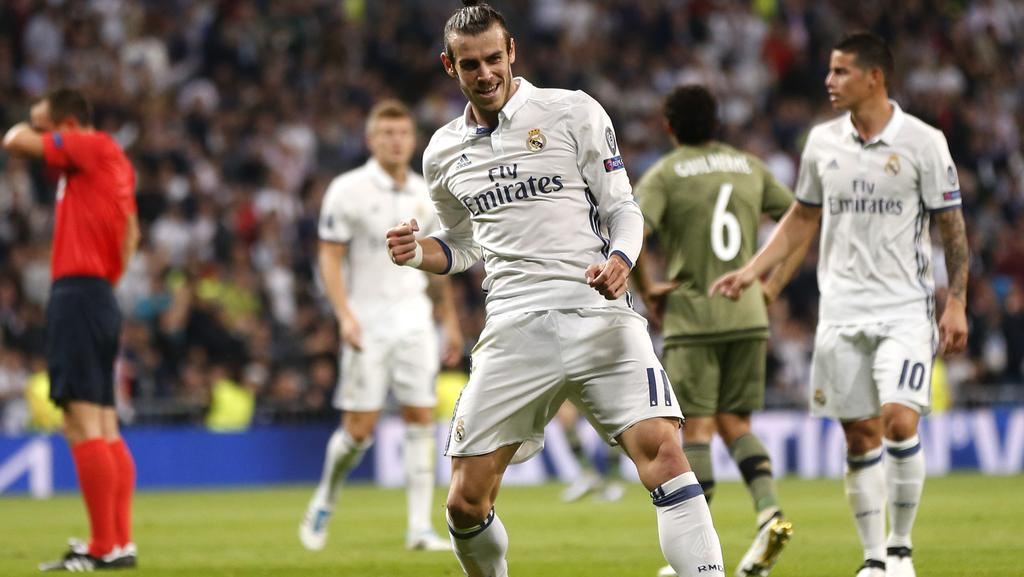 Real Madrid's Gareth Bale celebrates scoring the opening goal.