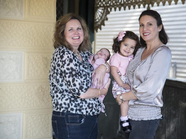 Fiona Fagan with Adeline as a baby and Natalie Lovett with Lexie.