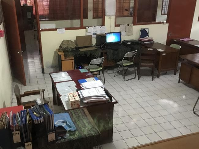 The office at the Bali Parole office in Denpasar where Schapelle Corby will sign the paperwork allowing her to be deported to Australia. Picture: Nathan Edwards