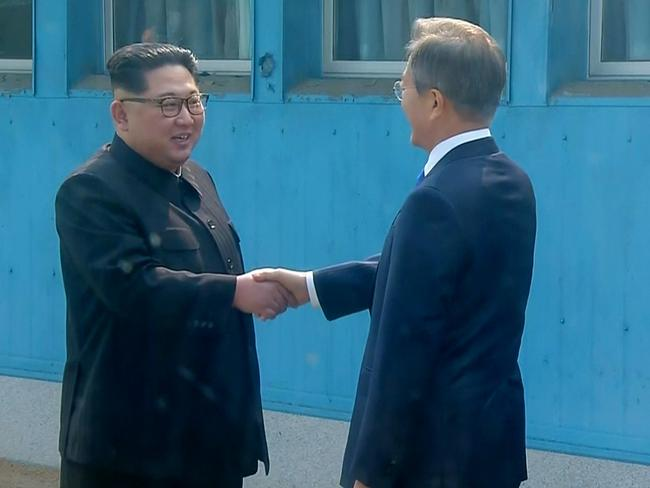 The pair met for historic face-to-face talks in Panmunjom. Picture: Korea Broadcasting System via AP