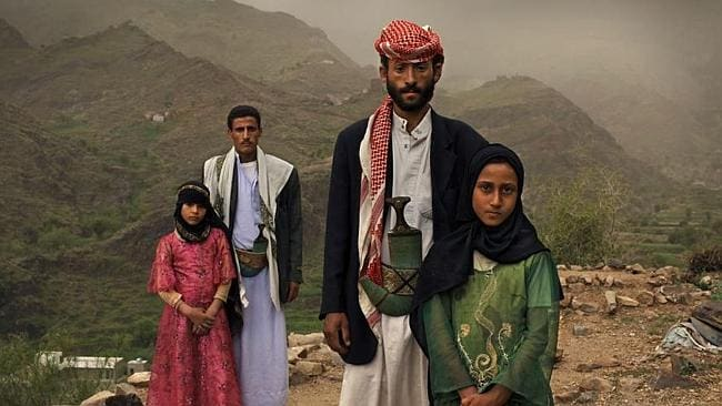 Yemen child bride Tahani (in pink) married her husband Majed when she was six and he was 25. Her former classmate Ghada was also a child bride. Picture: AP