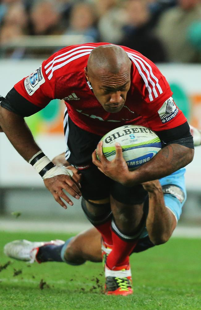 Nemani Nadolo breaks away to score a try for the Crusaders.