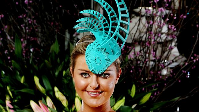 Emma Clapham in 3D print spring racing hat. Picture Ian Currie.