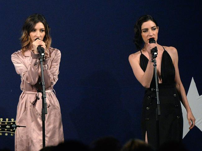 Sister act ... The Veronicas performed at the VVVIP dinner in London. Picture: David Dyson