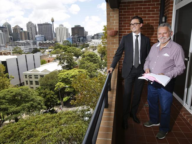 Buyer's agent Tom Penfold with his client Stewart Levitt who bought a property in Sydney's Surry Hills. Using an agent can save both time and money. Picture: Justin Lloyd