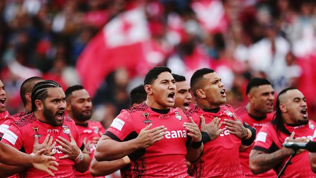 Taumalolo lead the Sipi Tau before the match.