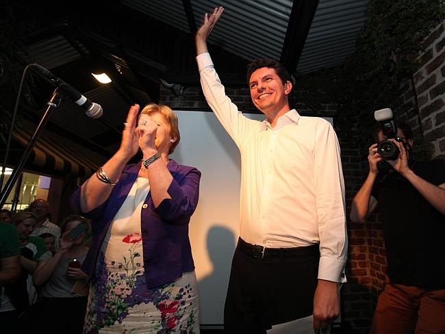 Celebration ... Scott Ludlam and Greens supporters at the Oxford Hotel in Leederville.