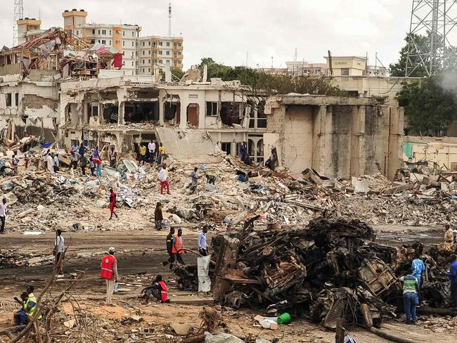 The scene of the explosion of a truck bomb in the centre of Mogadishu, Somalia. Picture: AFP