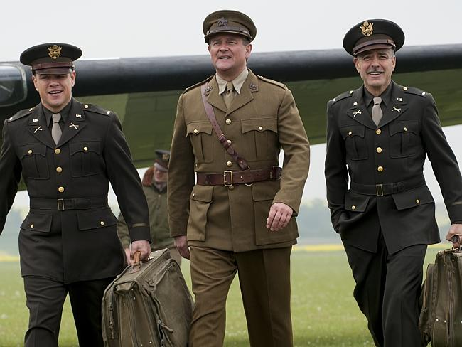 Threes a crowd ... Matt Damon (who plays James Granger), Hugh Bonneville (Donald Jeffries) and George Clooney (Frank Stokes) in new film The Monuments Men. Picture: Supplied