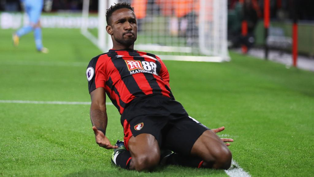 Jermain Defoe of AFC Bournemouth celebrates his winner.