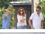 George Clooney (L), top model Cindy Crawford and her husband Rande Gerber (R) leave their table on September 27th 2014 at the Cipriani Hotel in Venice before his wedding with British Amal Alamuddin in Venice. Picture: AFP