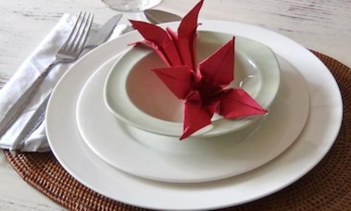 Origami lily table decoration