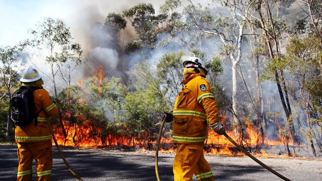 Local Rural Fire Service Firecrews from Woodford begin to perform back burning operations in Mt Victoria. Pic - Sam Mooy