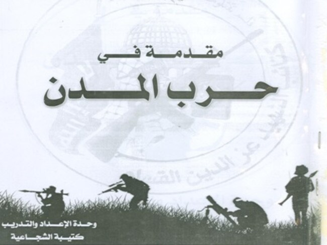 Discovered ... the Israel Defense Forces reports it found this Hamas urban warfare manual. Picture: IDF