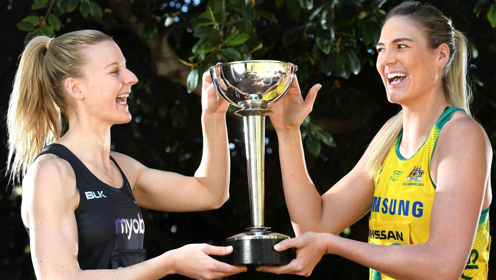 Silver Ferns captain Katrina Grant and Diamonds captain Caitlin Bassett with the Constellation Cup. Pic: Tricia Watkinson