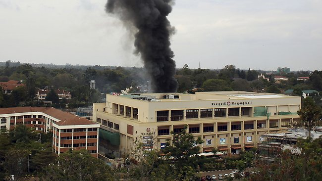 Heavy smoke rises from the Westgate Mall in Nairobi, Kenya. Multiple large blasts have rocked the mall where a hostage siege is in its third day.