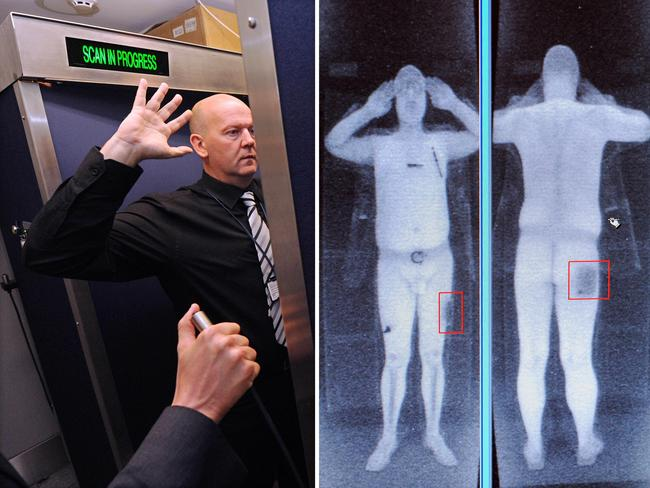 Prying eyes ... This file combination of images shows an airport staff member demonstrating a full body scan at Manchester Airport in Manchester, northwest England. Source: AFP