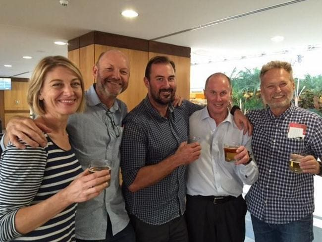 Out ... 60 minutes crew together again. Tara Brown, Stephen Rice, Ben Williamson, Channel 9 Network Director of News and Current Affairs Darren Wick and David Ballment. Picture: Channel 9/Instagra