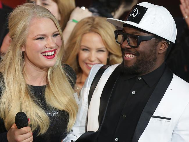 The Voice finale ... Anja Nissen with will.i.am on stage. Picture: Adam Ward