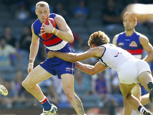 Adam Cooney during the 3rd qtr of the Western Bulldogs vs Fremantle Dockers match at Etihad Stadium, Melbourne. April 6, 2013. Picture: Klein Michael