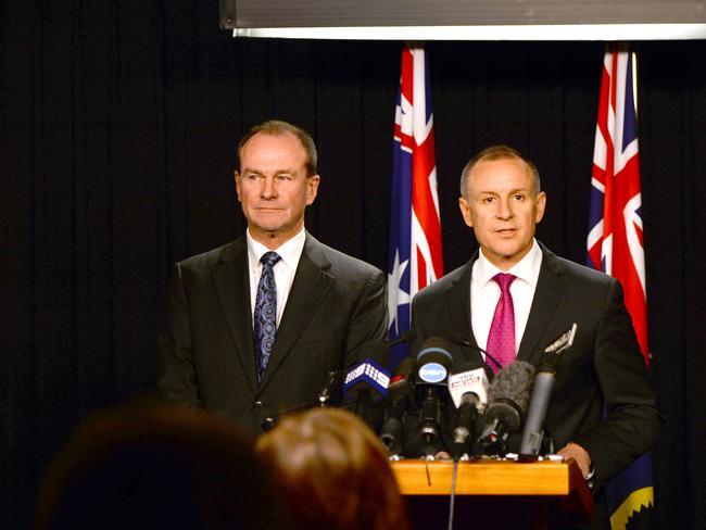 Former Liberal leader Martin Hamilton-Smith with Premier Jay Weatherill when he announced his decision to become a minister in a Labor Cabinet.
