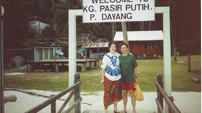 Heather Smith and husband Simon pictured in Asia where they lived for several years.