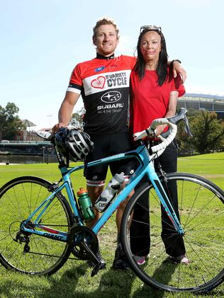 Turia Pitt with her partner Michael Hoskin as part of the 26-day Variety Cycle across Australia. Pic by Simon Cross