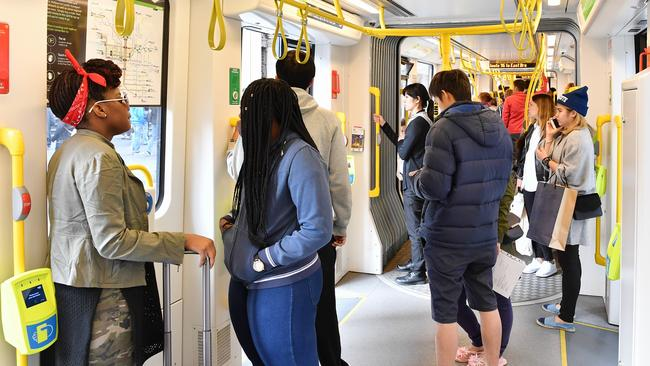 The brakes on the E-class trams are so sensitive passengers have been slipping, tripping and falling. Picture: Jake Nowakowski