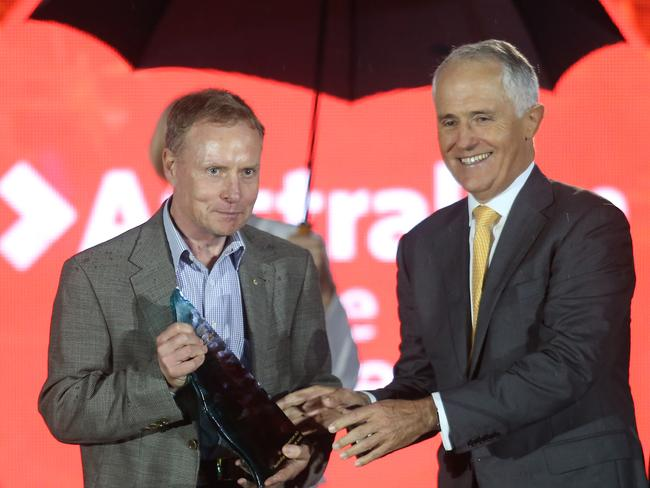 Australian of the Year David Morrison with PM Malcolm Turnbull. Picture: Gary Ramage