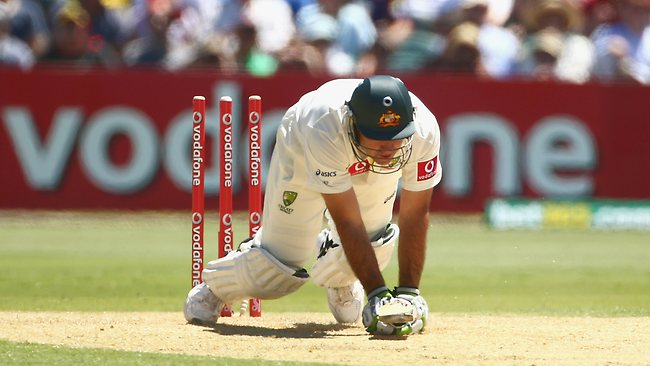 It ain't pretty as Ricky Ponting takes a tumble after being bowled by Jacques Kallis.