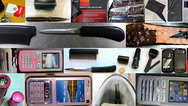 Some of the more inventive ways passengers tried to elude security by stashing weapons in items such as mobile phones, combs and lipsticks. Source: TSA