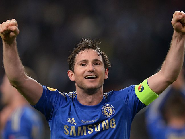Frank Lampard celebrates after winning the Europa League final against Benfica.
