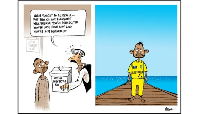 Warren Brown's take on the asylum seeker who arrived at Christmas Island wearing Australian one-day international cricket attire.