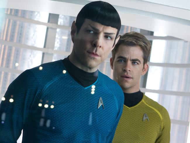 Next generation ... Zachary Quinto, left, as Spock and Chris Pine as Kirk in a scene in the movie 'Star Trek Into Darkness'. Picture: AP Photo/Paramount Pictures, Zade Rosenthal