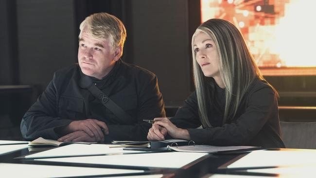 What's to come ... Julianne Moore and the late Philip Seymour Hoffman in the new Hunger Games film, Mockingjay Part 1. Picture: Village roadshow