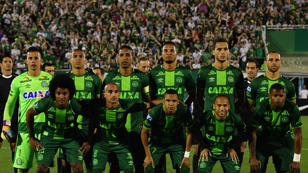 Brazil's Chapecoense professional footballers players, pictured during the 2016 Copa Sudamericana, were on a plane that crashed en route to Medellin international airport in Colombia. Picture: Nelson Almeida.