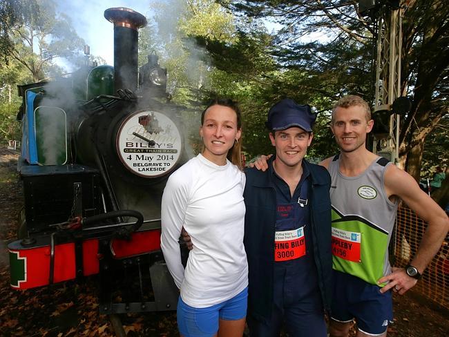Women's winner Sarah Klein, train driver Chris Tasker and Men's winner Craig Appleby after the Great Train Race. Picture: Hamish Blair