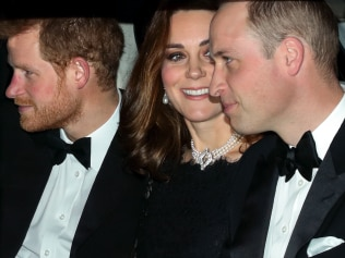 WINDSOR, UNITED KINGDOM - NOVEMBER 20: (EMBARGOED FOR PUBLICATION IN UK NEWSPAPERS UNTIL 24 HOURS AFTER CREATE DATE AND TIME) Prince Harry, Catherine, Duchess of Cambridge and Prince William, Duke of Cambridge arrive at Windsor Castle to attend Queen Elizabeth II's and Prince Philip, Duke of Edinburgh's 70th wedding anniversary dinner on November 20, 2017 in Windsor, England. (Photo by Max Mumby/Indigo/Getty Images)